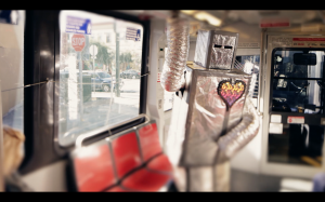 "A scene from Cartoon Violence's music video for the song ""Data, Input"" about a lonely robot looking for love in the city."